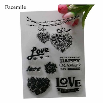 1PCS Novelty Heart Notes Pattern Silicone Clear Stamp DIY Scrapbooking Diary Seal Craft YS024